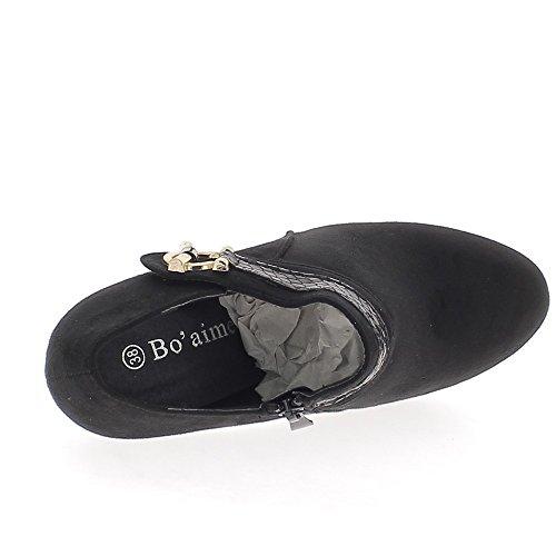 Piattaforma e nero Richelieux 11 cm tacchi guardare in camoscio con morsetto a coccodrillo