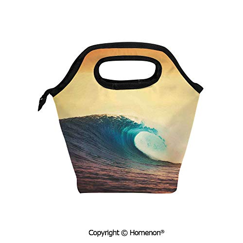 oft Lunch Bag Tote Handbag lunchbox,3d prited with Ocean Breaking Wave at Sunset in Warm Colors Seacoast Seasonal Art,For School work Office Kids Lunch Box & Food Container ()