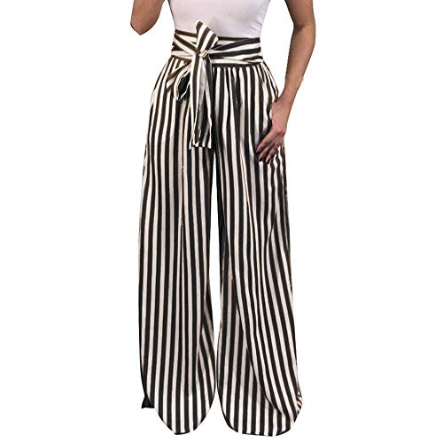 WUAI-Women Stripe Flowy Pants High Waist Loose Pockets Belted Wide Leg Palazzo Pants Plus Size(Black,XXXX-Large) (Chino Pleated Andrew Pant)