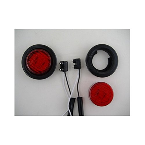 (2) Red 2' Round 9 LED Custom Mini Stop Turn Brake Tail Lights United Pacific