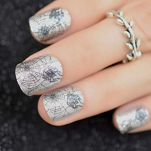 24 Pack Halloween Style Artificial Nails With Adhesive Black Spider Cobweb Silver Fake Nails Short Manicure Party Nail Tips Z900 for $<!--$14.18-->