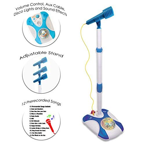 Karaoke Disco Light Adjustable Mic & Speaker Stand! Connects to iPods, Smartphones & MP3 Players and Includes 12 pre-Loaded Popular Songs(Blue) by IQ Toys (Image #2)