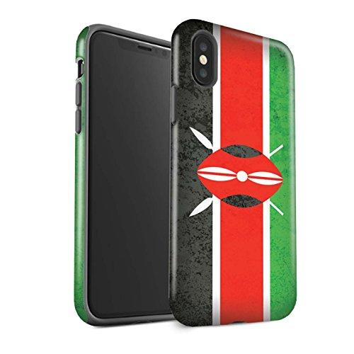 STUFF4 Gloss Tough Shock Proof Phone Case for Apple iPhone X/10 / Kenya/Kenyan Design/African Flag Collection