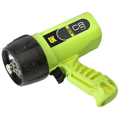 C8 Rechargeable Primary Dive Light, 1200 Lumens, Dual Power, Safety Yellow