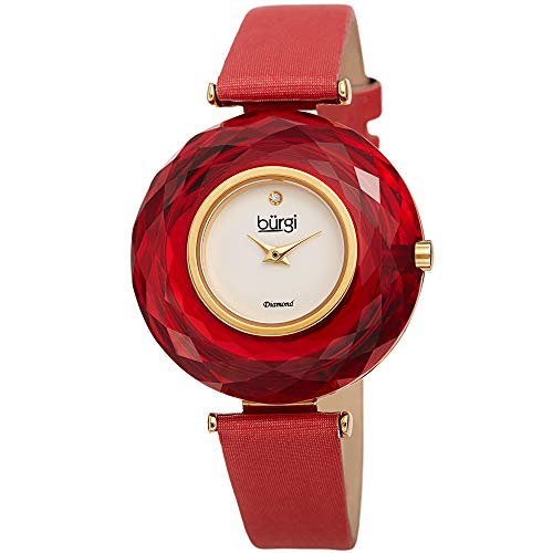 Burgi BUR252 Women's Watch - Gorgeous Large Colored Faceted Crystal Bezel with Slim Leather Strap Three Hand Movement with a Diamond Marker (Bright Red)
