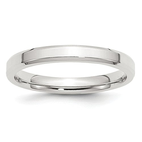 3mm Bevel Edge Size 4 Wedding Ring Band Classic Beveled Comfort Fit Fine Jewelry For Women Gift Set ()
