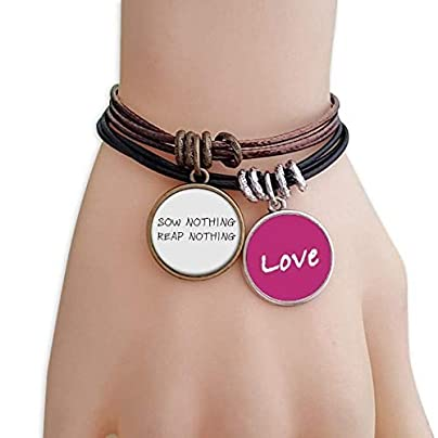 Metftus Quote Sow Nothing Reap Nothing Love Bracelet Leather Rope Wristband Couple Set Estimated Price -