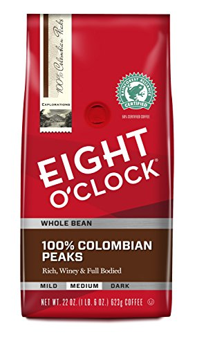Eight O'Clock Whole Bean Coffee, 100% Colombian Peaks, 22 Ounce