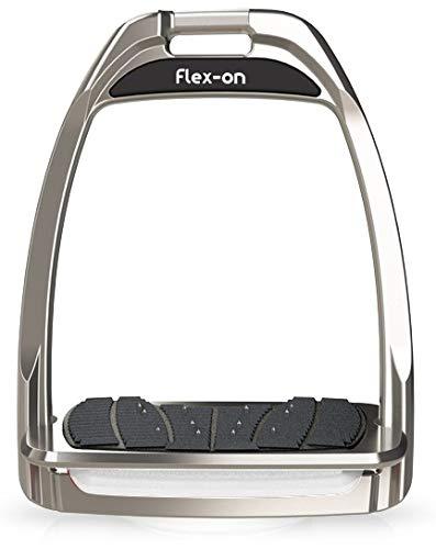 【Amazon.co.jp 限定】フレクソン(Flex-On) 鐙 ハンターレンジ Flat ultra-grip フレームカラー: シルバー グレー エラストマー: ホワイト 83016