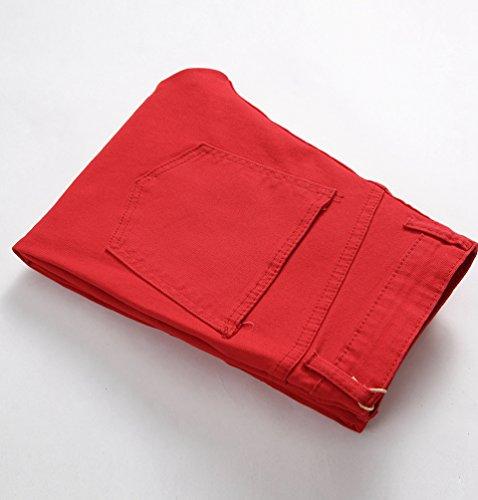Skinny Rojo Elástico Jeans Fit Recto Clásico Moderno Yiiquan Pantalones Vaqueros Motero Hombre Slim pqw0xCS4