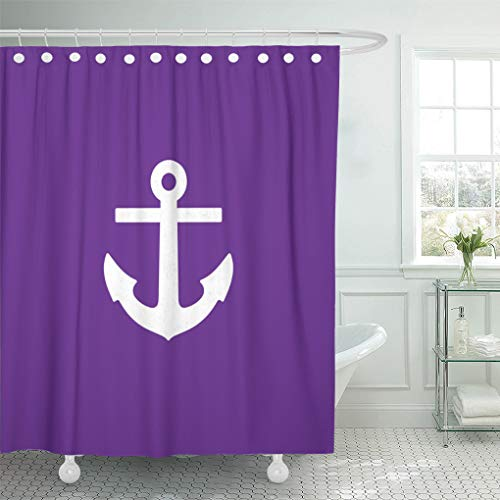Semtomn Shower Curtain Nautical Purple Anchor Couch 66