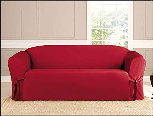 Kashi Micro-Suede Slipcover Sofa Loveseat Chair Furniture Cover (Sofa, Ruby)