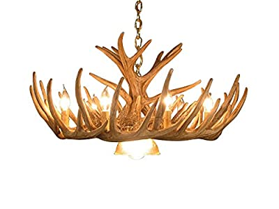 Rustic Whitetail Deer 12 Antler Cascade Chandelier with 9 Lights and 1 down light by Muskoka Lifestyle Products