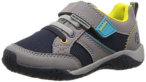 pediped Baby Flex Justice Sneaker, Grey, 25 E EU Toddler (8.5 US)