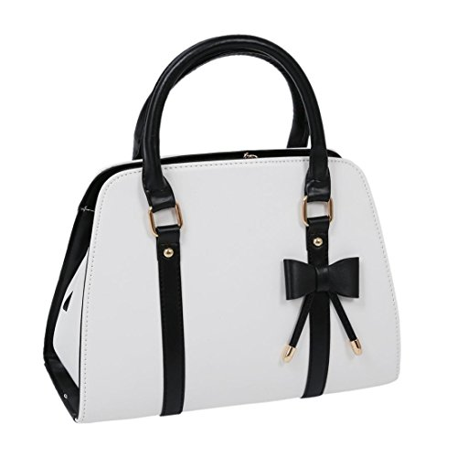 SODIAL(R) Hot Womens Vintage Hobo Messenger Handbag Shoulder Bag Tote with Bow-White