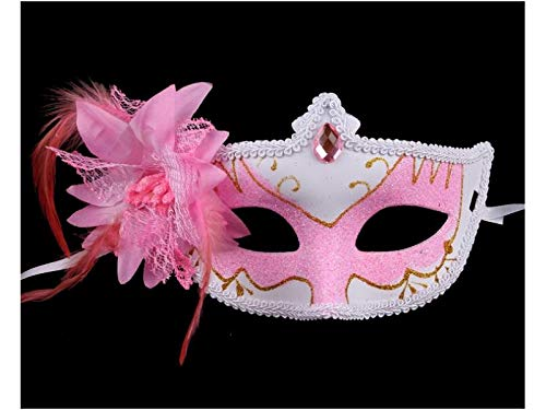Yyanliii Divertente Retro Maschera Di Piume Maschera Mascherata Per Halloween Party Dress Cosplay Puntelli (Rosa)