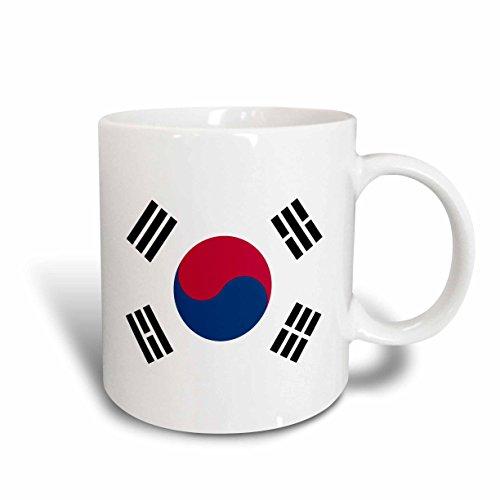 3dRose mug_158435_2 Flag of South Korea Korean White Red Blue Taegeuk Circle Black Trigrams Taiji Yinyang Taegeukgi Ceramic Mug, 15-Ounce