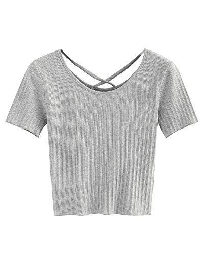 (Minetom Women's Summer Casual Short Sleeve T Shirt Criss Cross Back Lettuce Edge Trim Ribbed Tee Strap Blouse Tops Grey US 14)