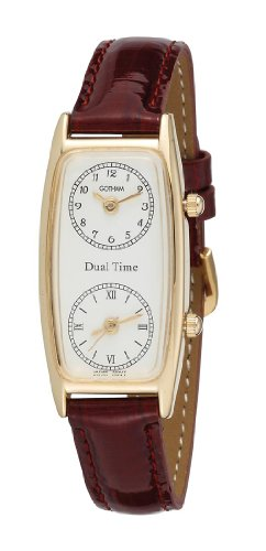 Dual Dial Watch (Gotham Women's Gold-Tone Dual Time Zone Leather Strap Watch # GWC15091GB)