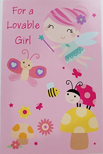 (For a Lovable Girl - Magical Wishes Happy Birthday Greeting Card - Fairy Princess w/ Butterfly Bee Ladybug)
