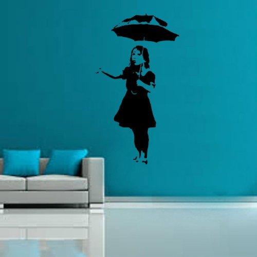 Kult Kanvas Banksy Umbrella Girl Decal Vinyl Wall Sticker Large 60cm x 107cm White