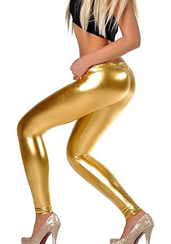 Diamond keep it Liquid Wet Look Shiny Metallic Stretch Leggings (L, Gold)