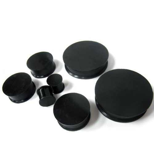 Pair of 1 & 3/4 Inch Gauge (45mm) Black Silicone Plugs (2 Pieces) - Double Flare (SIL053)