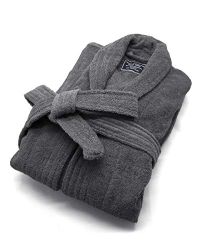 (100% Cotton Terry Bath Robe, Men and Women,Soft & Warm Fleece Home Bathrobe, Sleepwear Loungewear, One Size Fits All(Charcoal))