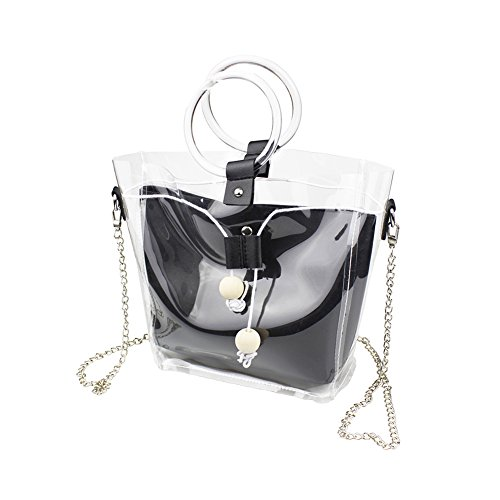 Bag Handbag Transparent Handbag women clear for pvc bags Zuoxiangru Black Beach Interior Chain Tote with Pocket bag ZPTq7g