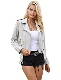 Simplee Women's Faux Suede Leather Motorcycle Jacket Belted Coat with Zipper