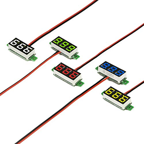 UCTRONICS 0.28 Inch Mini DC Voltmeter 2 Wires 2.5-30V LED Display Digital Voltage Tester Meter, 5 Colors