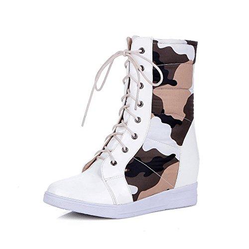 VogueZone009 Damen Schnüren Mittler Absatz PU Leder Gemischte Farbe Niedrig-Spitze Stiefel, Weiß, 43