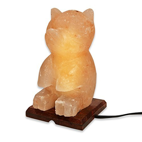 (Zennery Best Glowing Hand Carved TEDDY BEAR SHAPE Himalayan Pink Salt Lamp Rock Crystal with Decorative Neem Wood Base and replaceable 15W bulb -UL listed 6' cord 8-10 lbs (4-5 kg) 7