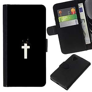 NEECELL GIFT forCITY // Billetera de cuero Caso Cubierta de protección Carcasa / Leather Wallet Case for LG Nexus 5 D820 D821 // Negro Cruz Blanca