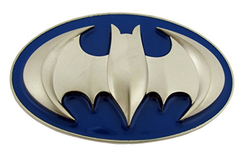 Batman Dark Knight Black/Yellow Belt Buckle (Batman 3d Silver Bat in Blue Oval Brushed Finished)