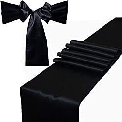 Combo Pack - 2 Satin Table Runners 12 x 108 inch & 10 Chair Sashes for Wedding Banquet Decoration, Bright Silk and Smooth Fabric Party Decor (Combo 2 Table Runner + 10 Chair Saches, Black)