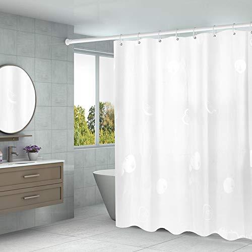 Duschvorhang 180 x 200 Transparent,PEVA Wasserdicht, Halb-transparent Klar, Anti Schimmel, PVC-frei Umweltfreundlich Waschbar mit 12 Ringe (Apfel)