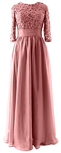 MACloth Women Half Sleeve Lace Long Mother of Bride Dress Formal Evening Gown (26w, Blush Pink)