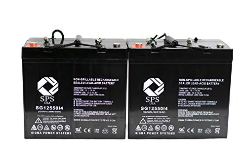 12V 55Ah Pride Mobility BATEL1003 Sealed Gel Equivalent 12 Volt 55 ah 22-NF Replacement Group 22NF Wheelchair Replacement Battery (i4 Terminal) SPS Brand (2 Pack) ()