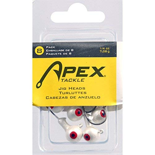 Apex Jig Heads Fishing Equipment (8 Pack), 1/4 oz, White ()