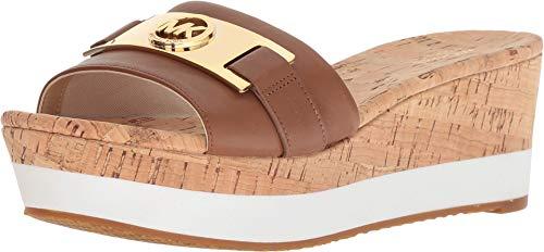 Michael Kors Michael Womens Warren Platform Open Toe Casual Slide Sandals (8 B(M) US, Luggage Leather)