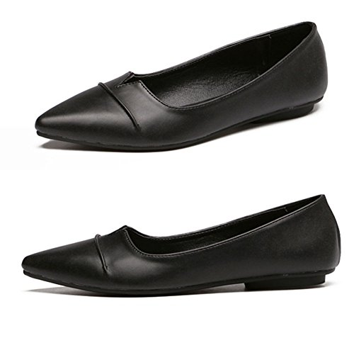 QZUnique Womens Classic Pointy Toe Shoes Ballet PU Leather Slip On Low Flats Black ZAwE6fp