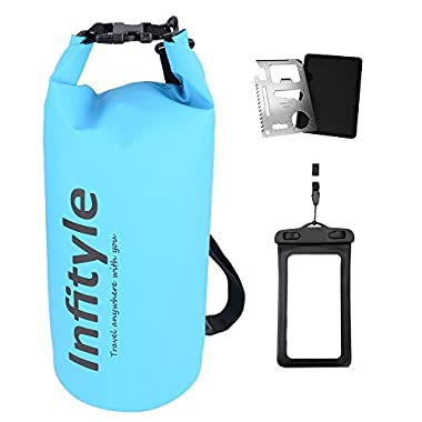 Waterproof Dry Bags - Floating Compression Stuff Sacks Gear Backpacks for Kayaking Camping - Bundled with Phone Case and Pocket Tool (Light Blue, 5L)
