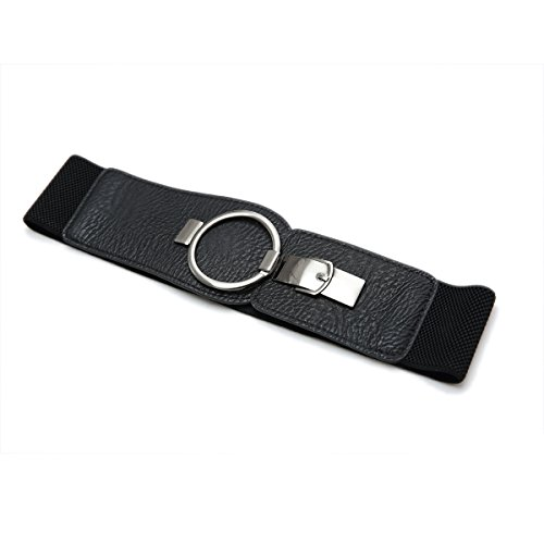 Retro Wide Metal Interlock Buckle Womens Elastic Waist Belt Cinch (Small, Black)