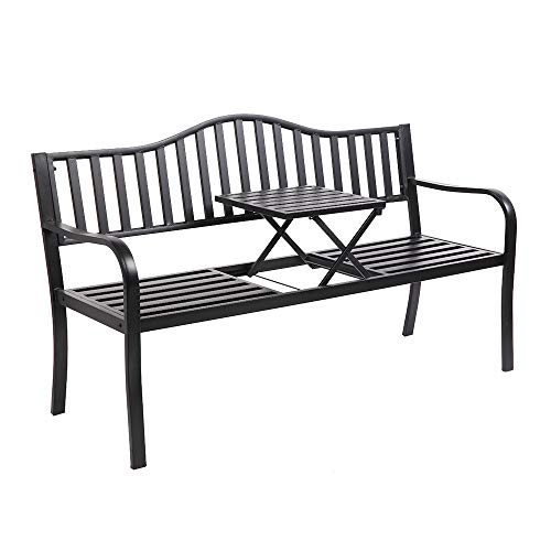 VINGLI 59″ Patio Garden Bench Table Outdoor Metal Park Benches,Cast Iron Steel Frame Chair Porch Path Yard Lawn Decor Deck