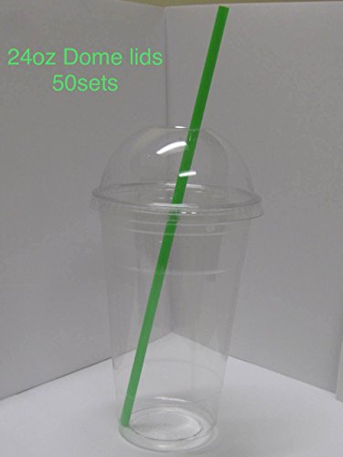 50sets 24oz. Plastic Ultra Clear Cups with dome lids, dome lids with hole, is for cold drinks like iced coffee, Bubble Tea, Frozen Cocktails, water , Sosa and jucies
