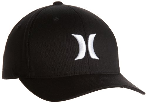 Hurley Men's One And Only Black Flexfit Hat, White, Small/Medium (Surfing Baseball Caps)