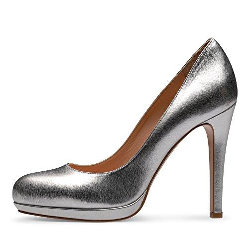 Piel Evita de Shoes vestir para Plateado plateado Zapatos de mujer qqAX1