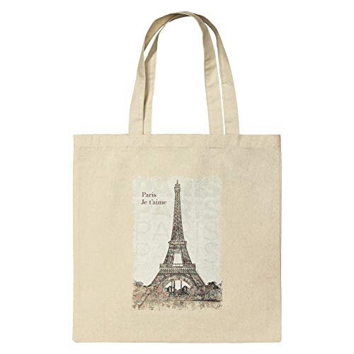 Paris, je t'aime I Love You Eiffel Tower City Map Grocery Travel Reusable Tote Bag - Small