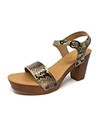 Soda Women's Bold Buckles Studded Wedge Sandal